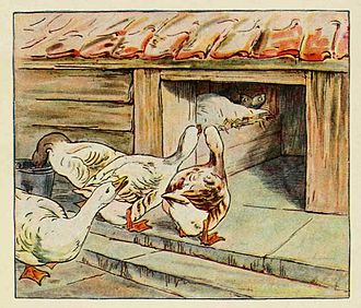 Goosey Goosey Gander - Illustration by Beatrix Potter in Cecily Parsley's Nursery Rhymes (1922).
