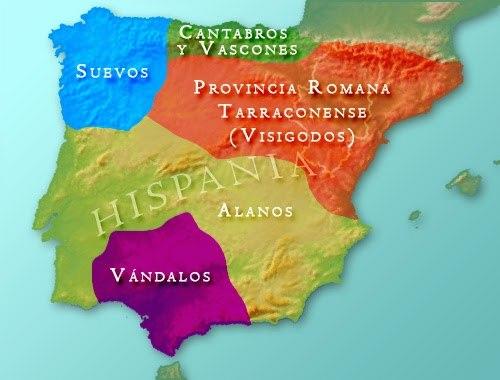 Povos bárbaros na Península Ibérica (Hispânia), região pertencente ao Império Romano