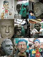 Building a papier maché mask in the Carnevale di Massafra