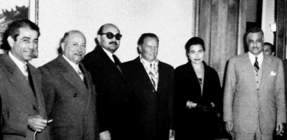 President Gamal Abdul Nasser and Yugoslavian President Josip Tito in Aleppo in 1959