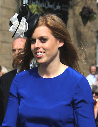 HRH Princess Beatrice of York, granddaughter of the Queen. Prince Beatrice with Dave Clark crop.jpg