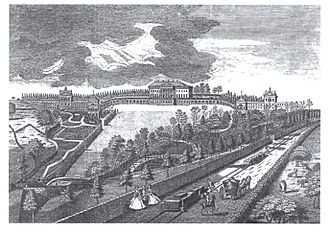 Prior Park - Prior Park, Bath and Ralph Allen's railway in 1750 from an engraving by Anthony Walker