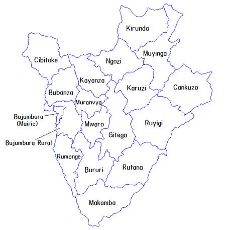 Provinces of Burundi 2014 (named)