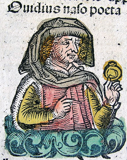 Ovid as imagined in the Nuremberg Chronicle, 1493. Publius Ovidius Naso in the Nuremberg chronicle XCIIIv.jpg