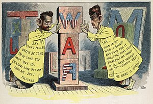 "Joseph Pulitzer - Editorial cartoon by Leon Barritt. Newspaper publishers Joseph Pulitzer and William Randolph Hearst, full-length dressed as the ""Yellow Kid"" (a popular cartoon character of the day), each pushing against opposite sides of a pillar of wooden blocks that spells WAR. This is a satire of the Pulitzer and Hearst newspapers' role in rousing public opinion for war with Spain. First published 29 June 1898."