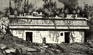 Xculoc - Puuc style Mayan building at Xculoc, in 1841 drawing by Frederick Catherwood.