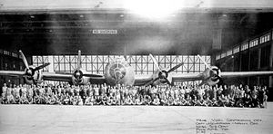 Pyote Air Force Base - 2753d Aircraft Storage Squadron in front of a B-29 at Pyote Army Airfield, 1945.