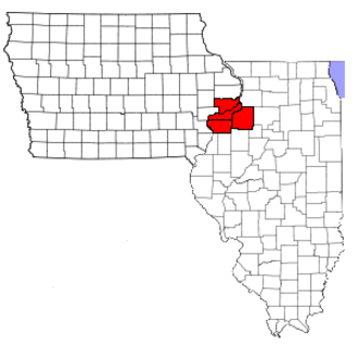 Quad City-style pizza - Location of the Quad Cities