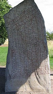 Inscription using both cipher runes, the elder futhark and the younger futhark, on the Rök Runestone