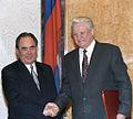 RIAN archive 848112 Tatarstan President Mintimer Shaimiyev and Russian President Boris Yeltsin.jpg