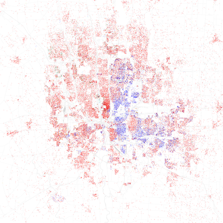 Map of racial distribution in Columbus, 2010 U.S. Census. Each dot is 25 people: White, Black, AsianHispanic, or Other (yellow) Race and ethnicity 2010- Columbus (5559898027).png