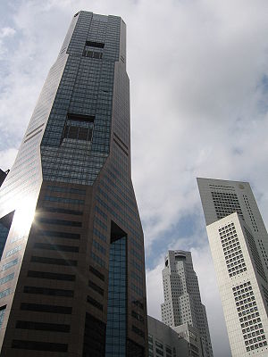 Raffles Place - Three of the tallest buildings in Singapore, located at Raffles Place, from left to right, Republic Plaza, UOB Plaza One and One Raffles Place. All three are 280 metres in height.