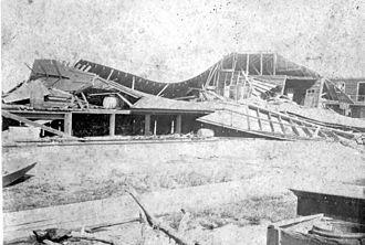 1899 Carrabelle hurricane - The destroyed Railroad building in Carrabelle, Florida