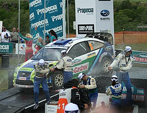 Rally New Zealand - 2006 post-race celebration with Marcus Grönholm, Mikko Hirvonen and Manfred Stohl.