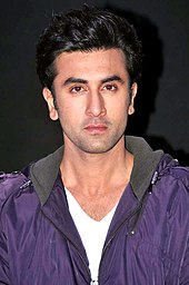 Ranbir Kapoor is looking directly at the camera