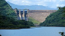 View of the Randenigala Dam and spillways from the Rantembe Reservoir, downstream.