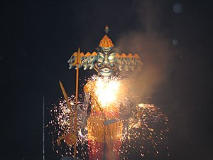 Effigy - Effigy of Ravana with burning sparklers, in Manchester, England in 2006