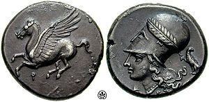 Koppa (letter) - Corinthian stater. Obverse: Pegasus with koppa beneath, for Corinth. Reverse: Athena wearing a Corinthian helmet.