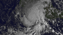 A visible satellite image showing the only major hurricane of the 2013 Pacific hurricane season on October 21.