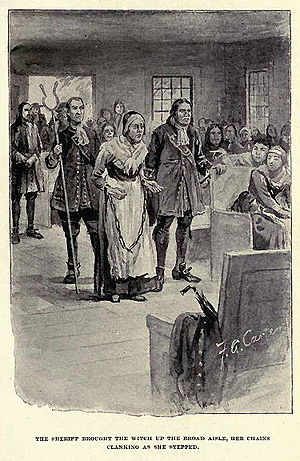 Rebecca Nurse - A fanciful representation of Rebecca Nurse's trial from The Witch of Salem, or Credulity Run Mad by John R. Musick.