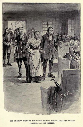 Rebecca Nurse - A fanciful representation of Rebecca Nurse's trial from The Witch of Salem, or Credulity Run Mad by John R. Musick