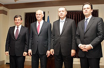 From left to right: Turkish FM Ahmet Davutoğlu...