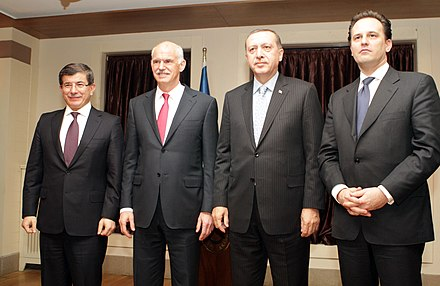 Davutoglu and Recep Tayyip Erdogan with former Greek Prime Minister George Papandreou and Foreign Minister Dimitris Droutsas Recep Tayyip Erdogan and George Papandreou, Erzurum January 2011 18.jpg