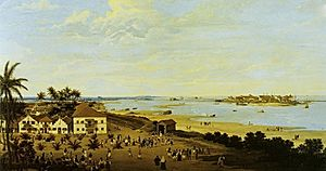 Capture of Recife (1595) - The coast of Recife with Fort São Jorge on the spit of land on the right.