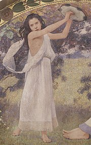 Woman playing a tambourine. Detail from Recreation (1896), by Charles Sprague Pearce. Library of Congress Thomas Jefferson Building, Washington, D.C.