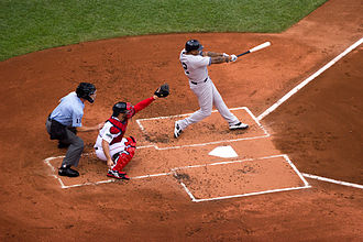 A New York Yankees batter and a Boston Red Sox catcher at Fenway Park Red Sox Yankees Game Boston July 2012.jpg