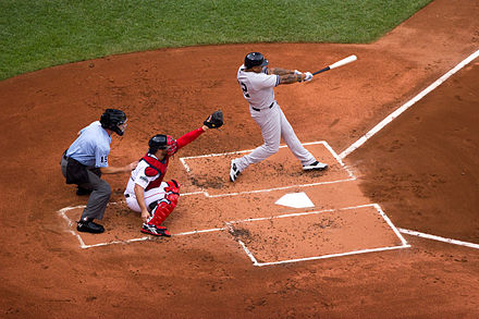 A New York Yankees batter and a Boston Red Sox catcher at Fenway Park. Red Sox Yankees Game Boston July 2012.jpg