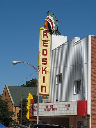 Anadarko, Oklahoma - The Redskin Theater in Anadarko, Oklahoma. The town's population is 41% Native American.