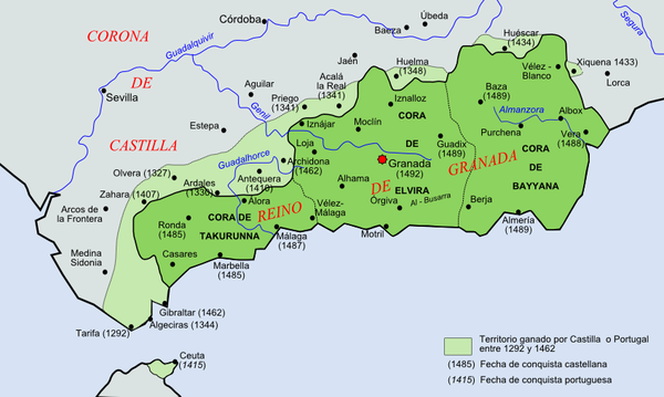 Territory of the Nasrid dynasty during the 15th century. In light green are territories conquered by the Christian kings during the 13th century, including Ceuta on the African coast.