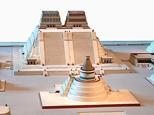 Aztec architecture - Reconstruction of the temple precinct of Tenochtitlan; the great temple