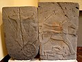 Relief orthostat showing a war chariot and a dying naked foe. From Sam'al citadel. 9th century BC. Museum of the Ancient Orient, Istanbul.jpg