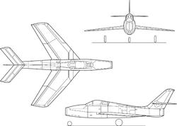 Σχέδιο τριών όψεων του F-84F