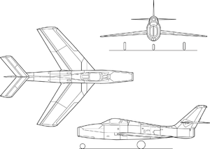 Orthographically projected diagram of the Republic F-84F Thunderstreak.