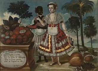 """Quito School - Retrato de una señora principal con su negra esclava (""""Portrait of a Quiteña Matron with Her Black Slave"""") by Vicente Albán, 1783."""