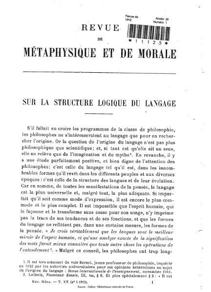 File:Revue de métaphysique et de morale, numéro 1, 1912.djvu