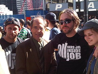 Architects & Engineers for 9/11 Truth - Richard Gage (second from left) with 9/11 truth activists at the World Trade Center in New York on 9/11/2010.
