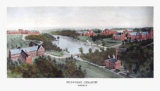 "University of Richmond - ""Richmond College"" in 1915, shortly after the transition to Richmond's West End. Rummell, Richard (1848-1924)."