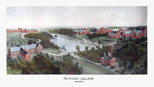 """Richmond College"" in 1915, shortly after the transition to Richmond's West End. Rummell, Richard (1848-1924).[11]"