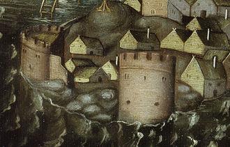 Birger Jarls torn - Detail from Vädersolstavlan (original from 1535) showing Birger jarls torn (left) and Vasatornet (right)