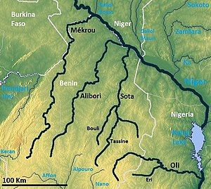 River Niger Tributaries from Benin OSM.jpg