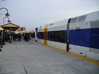 Walter Rand Transportation Center - River Line train at the Transportation Center in 2006