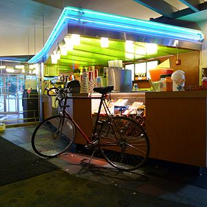 Riverview Theater - Image: Riverview Theater snack bar, July 2009, also a bike?