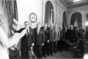 United States President's Commission on CIA Activities within the United States - Swearing-in of the Rockefeller Commission in 1975: Nelson A. Rockefeller, Lyman L. Lemnitzer, Ronald Reagan, Edgar F. Shannon, Jr., David W. Belin, John T. Connor, C. Douglas Dillon, Erwin N. Griswold, and Lane Kirkland