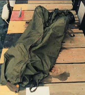 Oba Chandler - One of the body bags used at the scene on June 4, 1989