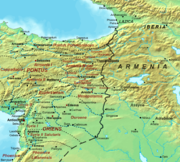 Map of the Roman–Persian frontier after the division of Armenia in 384. The frontier remained stable throughout the fifth century.