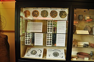 Isurium Brigantum - Coins and pottery in the museum.